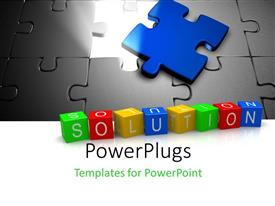 PowerPlugs: PowerPoint template with missing blue jigsaw puzzle piece with 3D SOLUTIONS cube