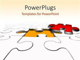 PowerPlugs: PowerPoint template with the missing puzzle piece in red outside with puzzles synced