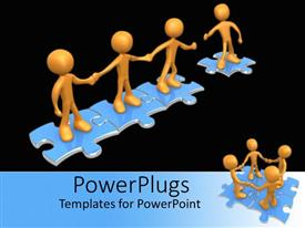 PowerPlugs: PowerPoint template with missing puzzle pieces come together in group work collaboration on blue background