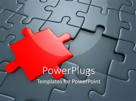 PowerPlugs: PowerPoint template with missing red piece of grey jigsaw puzzle with spotlight