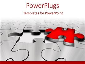 PowerPlugs: PowerPoint template with missing red puzzle piece problem solution key white background
