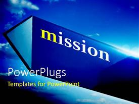 PowerPlugs: PowerPoint template with a symbol with a lot of clouds in background