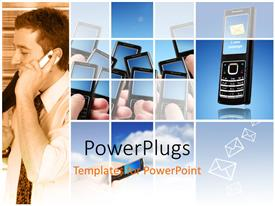 PowerPlugs: PowerPoint template with mobile communication depiction with envelope symbols and mobile phone
