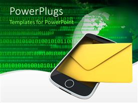 PowerPlugs: PowerPoint template with mobile with a message on a green binary background with a globe