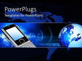 PowerPlugs: PowerPoint template with a mobile phone beside a blue colored earth globe