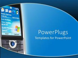 PowerPlugs: PowerPoint template with a mobile phone with a bluish background