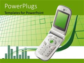 PowerPoint template displaying a mobile phone opened on a green colored background