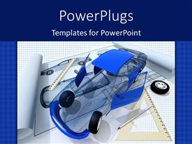 PowerPoint template displaying model of the car and blueprint with blue color texture