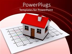PowerPlugs: PowerPoint template with model house on line graph, pink background