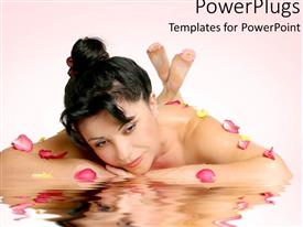 PowerPlugs: PowerPoint template with a model lying on the floor with her reflection