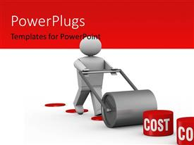 PowerPlugs: PowerPoint template with model of a man pushing a steamroller to mow down costs