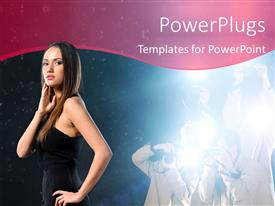 PowerPlugs: PowerPoint template with model posing for shots with photographers taking shots