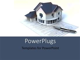 PowerPlugs: PowerPoint template with a model of a small house on a piece of paper and a pen