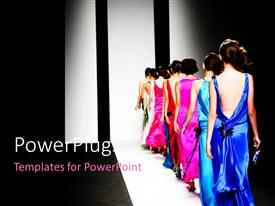 PowerPoint template displaying models on the catwalk during a fashion show with black color