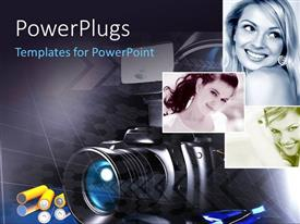 PowerPoint template displaying models pictures with camera