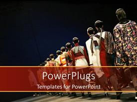 PowerPoint template displaying models showing off for audience during fashion show