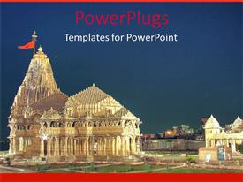 PowerPlugs: PowerPoint template with modern design of Temple of Somnath in gold with green garden