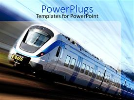 PowerPoint template displaying modern high speed train in motion