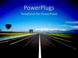 PowerPlugs: PowerPoint template with modern Highway Background of Snow-capped Alps Italy