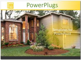 PowerPoint template displaying modern home with landscaping, real estate, mortgages