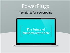 PowerPoint template displaying modern notebook computer with future technology message