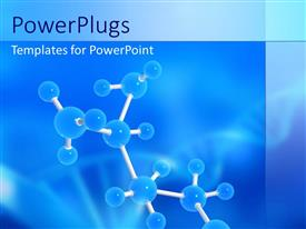 PowerPlugs: PowerPoint template with molecular structure with dna symbol on blue background