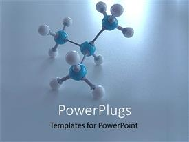 PowerPlugs: PowerPoint template with a molecule with blue and white colored nodes on a white background