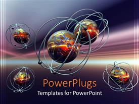 PowerPoint template displaying molecules and atoms in purple background