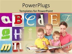 PowerPlugs: PowerPoint template with mom and dad holding baby girl and baby girl on their laps with open books reading to babies, alphabet letters in the background