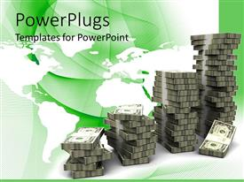 PowerPoint template displaying money bills arranged in increasing stacks with green and white background