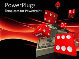 PowerPlugs: PowerPoint template with money bills bundles and red dice on red and black background casino theme