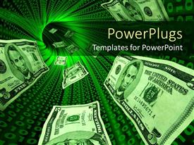 PowerPlugs: PowerPoint template with money bills flowing through a tunnel with glowing red binary codes symbolizing the internet