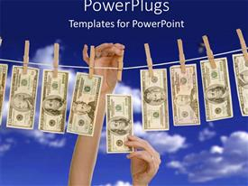 PowerPlugs: PowerPoint template with money bills hanging on a clothes line held by wooden clothespins and two hands taking money bill from the line on blue sky background
