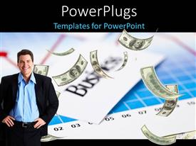 PowerPlugs: PowerPoint template with money falling on financial charts with business man smiling