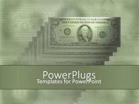 PowerPlugs: PowerPoint template with money one hundred dollar bills green background stacks of money