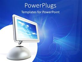PowerPlugs: PowerPoint template with a monitor with bluish background and place for text