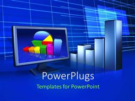 PowerPlugs: PowerPoint template with a monitor with a growth graph in the background