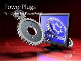 PowerPlugs: PowerPoint template with a monitor with a number of gears and place for text