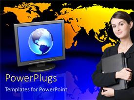 PowerPlugs: PowerPoint template with monitor screen showing globe with any standing by world map in background