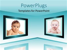 PowerPlugs: PowerPoint template with monitor screens showing two lovely little kids with background reflection