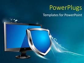 PowerPoint template displaying a monitor with a shield and greenish background