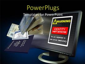 PowerPoint template displaying a monitor with the warning and a number of credit cards in front
