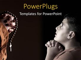 PowerPlugs: PowerPoint template with monk and child praying with black color