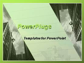 PowerPlugs: PowerPoint template with monotone gray cityscape with parallelogram banner in center