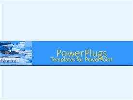 PowerPlugs: PowerPoint template with montage of airport tarmac with airplanes on blue background
