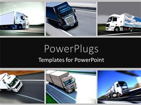 PowerPoint template displaying montage of several depictions of trucks, truck transport and logistics concept