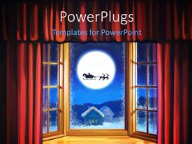 PowerPlugs: PowerPoint template with a moon in the background along with santa