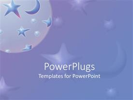 PowerPlugs: PowerPoint template with a moon and a number of stars with purple background