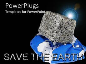 PowerPlugs: PowerPoint template with moon shining on black background with rock on blue and white map