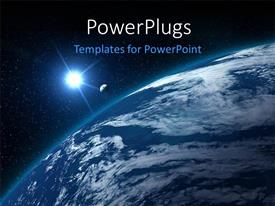 PowerPlugs: PowerPoint template with moon shining on blue earth globe with other galactic bodies in space